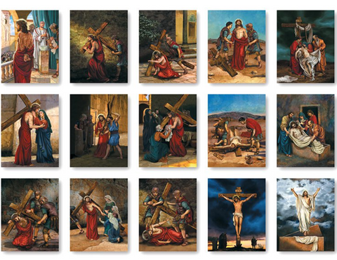 Stations of the Cross Framed Image - Set of 15
