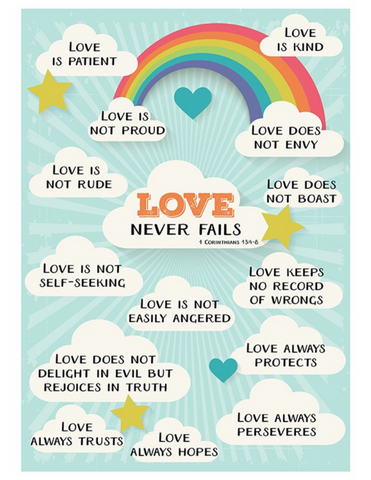 "19"" H Love Never Fails Poster - Universal Designs"
