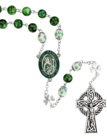8mm Green Marble St. Patrick Rosary