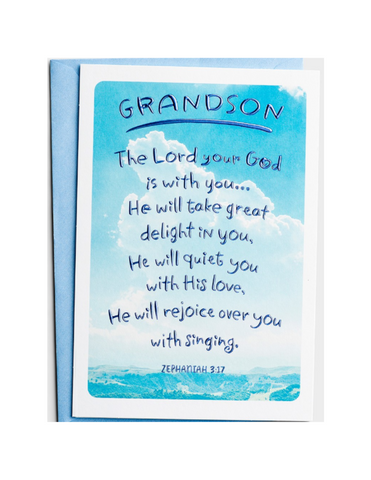 Confirmation Greeting Card - Grandson - Sky - 1 Premium Card