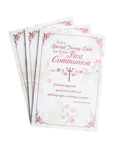 Communion Greeting Cards - Special Young Lady - Floral - 3 Premium Cards