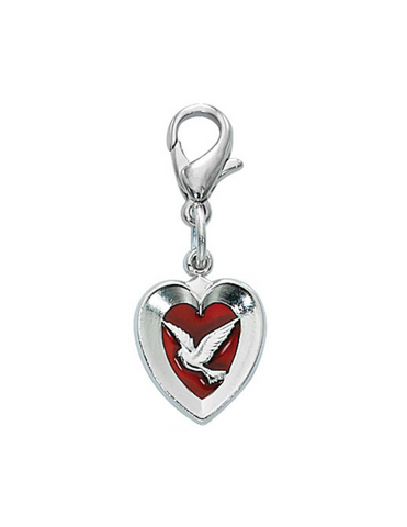 Pewter Red Enamel Dove Heart Clip Charm