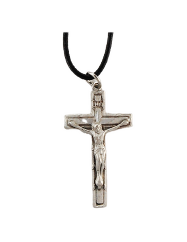 Pewter crucifix on leather Cord Necklace Crucifix Leather Cord Necklace Communion keepsakes Communion souvenir