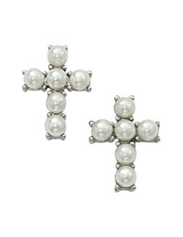 Pearl Cross Communion Earring Earring Crystal Cross Earring Cross Earring Communion keepsake communion souvenir