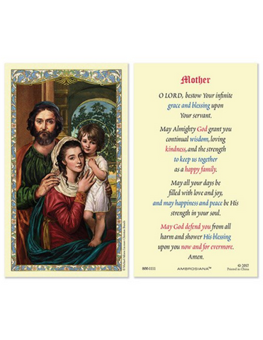 Holy Family Mother Prayer Holy Card - 25 Pieces Per Package