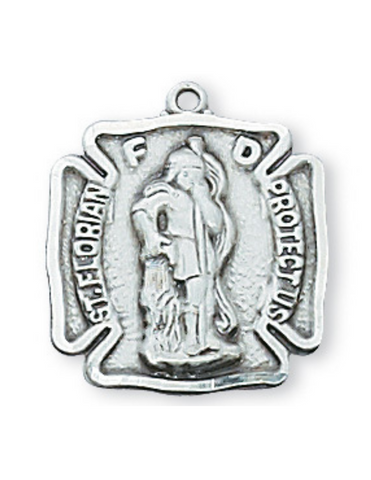"Sterling Silver St. Florian Medal with 18"" L Rhodium Plated Chain St. Florian Medal Military Protection Armed Forces Protection Armed Forces Guidance"