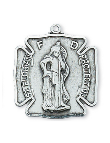 "Sterling Silver St. Florian Medal with 24"" L Rhodium Plated Chain"