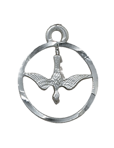 Holy Spirit Dove Medal with Silver Tone Chain