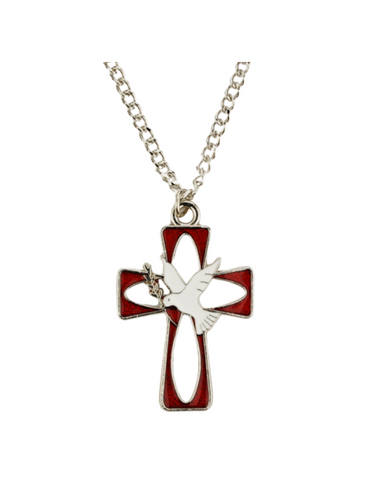 Red Enamel Holy Spirit Cross with Chain