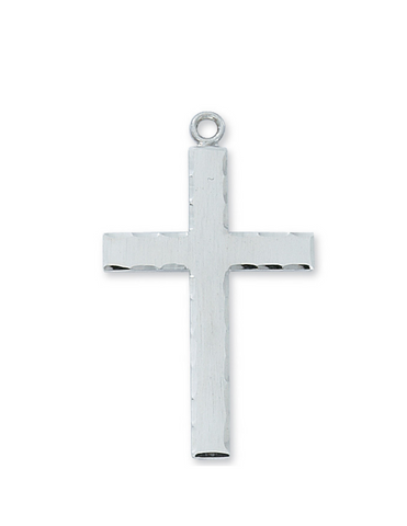 "Sterling Silver Cross with 24"" Rhodium Plated Chain Necklace"
