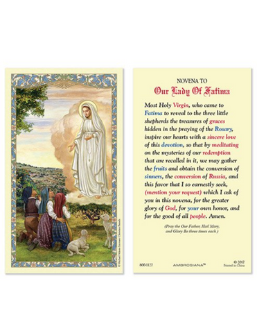 Our Lady of Fatima Laminated Holy Card - 25 Pieces Per Package Our Lady of Fatima Laminated Holy Card Our Lady of Fatima symbol Our Lady of Fatima item Our Lady of Fatima gift Our Lady of Fatima keepsake