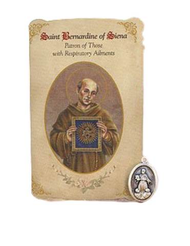 Holy Card St. Bernadine with Respiratory Healing Medal Set - 6 Pcs. Per Package