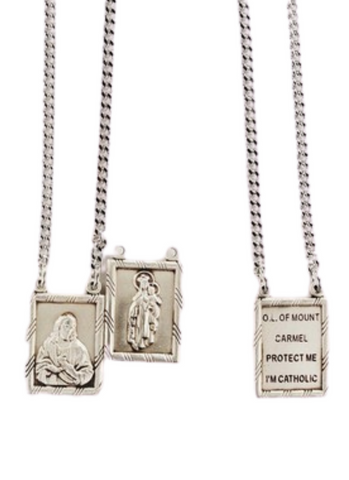 "2 Piece Sterling Silver Scapular Medal with 30"" Rhodium Plated Brass Chain"