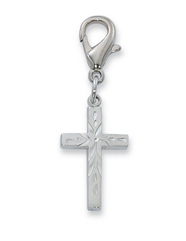 Clipable Cross Charm - Rhodium Finished