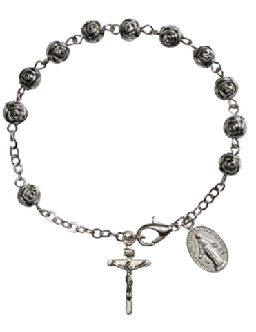 Rosebud Beads Rosary Bracelet with Miraculous Medal and Crucifix Charms