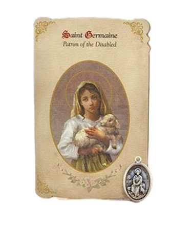 Holy Card St. Germaine with Handicapped Healing Medal Set - 6 Pcs. Per Package