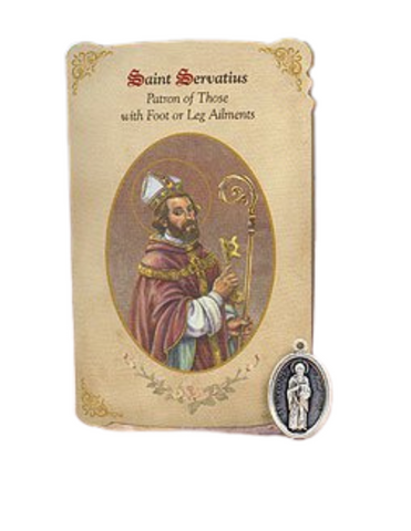 Holy Card St. Servatus with Leg Foot Healing Medal Set - 6 Pcs. Per Package