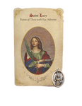 Holy Card St. Lucy with Eyesight Healing Medal Set - 6 Pcs. Per Package
