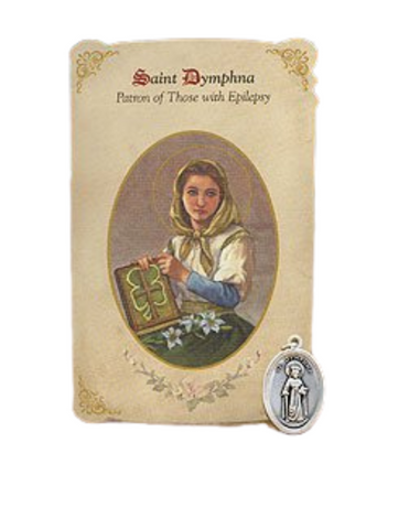 Holy Card St. Dymphna with Epilepsy Healing Medal Set - 6 Pcs. Per Package