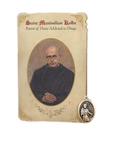 Holy Card St. Maximillian Kolbe with Addiction Healing Medal Set - 6 Pcs. Per Package