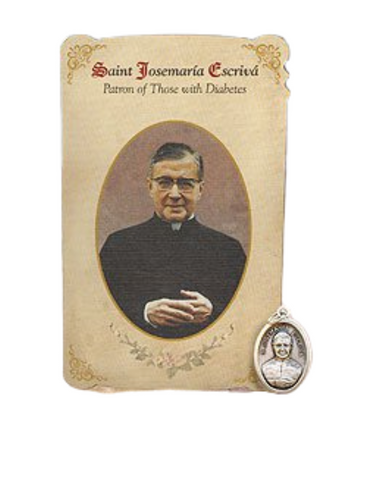 Holy Card St. Josemaria with Diabetes Healing Medal Set - 6 Pcs. Per Package
