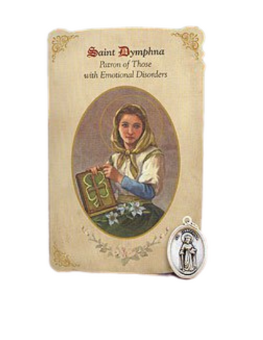 Holy Card St. Alice with Depression Healing Medal Set - 6 Pcs. Per Package