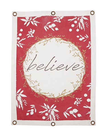 Canvas Wall Banner Holiday Greetings - Believe