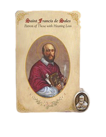 Holy Card St. Francis with Deafness Healing Medal Set - 6 Pcs. Per Package