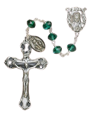 6MM Our Lady of Fatima Rosary in Emerald Green