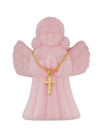 "13"" Children Crucifix with Pink Angel Box"