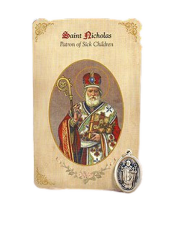 Holy Card St. Nicholas with Sick Children Healing Medal Set - 6 Pcs. Per Package