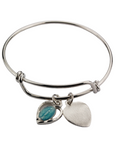 "2 1/2"" Faith Youth Bangle Bracelet with Blue Enameled Miraculous Medal & Heart Medal"