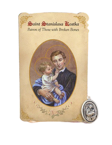 Holy Card St. Stanislaus with Broken Bones Healing Medal Set - 6 Pcs. Per Package