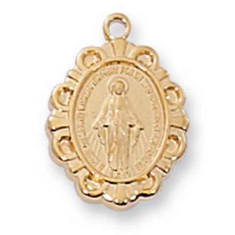 "Miraculous Medal Gold Over Sterling Silver with 16"" Rhodium Plated Chain"