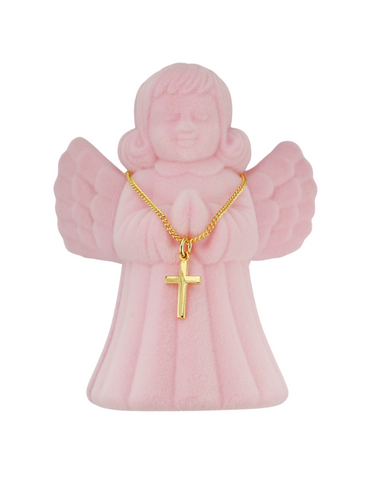 "13"" Children Cross with Pink Angel Box"
