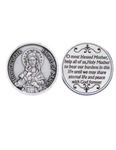 Immaculate Heart of Mary Token - Pocket Silver Tone Italian Prayer Token