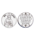 St Lucy Token - Pocket Silver Tone Italian Prayer Token