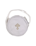 White Leather Burse Rosary/Pyx  Case w/ Cord and Gold Colored Cross