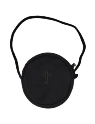 Black Leather Burse Rosary Case w/ Cord and Gold Colored Cross