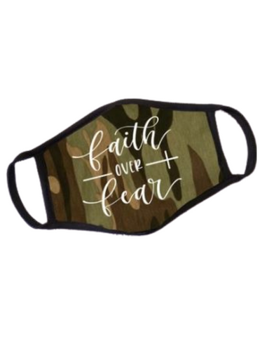 Premium Faith Over Fear Mask in Camouflage