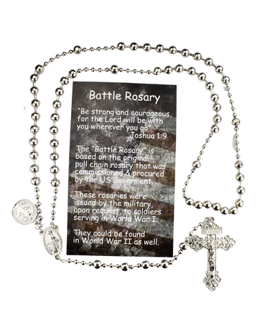 Silver Plated Battle Rosary with St. Benedict Medal