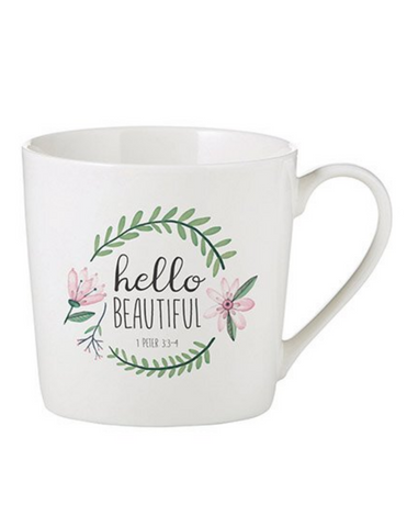14oz Porcelain Hello Beautiful Cafe Mug