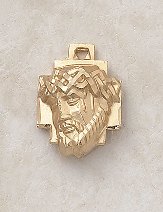 "Head Of Christ Medal 24kt Gold Plate Over Sterling w/ 24"" Chain"