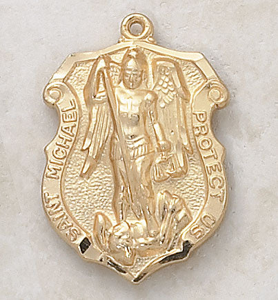 "St. Michael Medal 24kt Gold Plate Over Sterling w/ 24"" Chain"