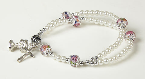 FC 4mm White Pearl Bracelet With Enamel Chalice