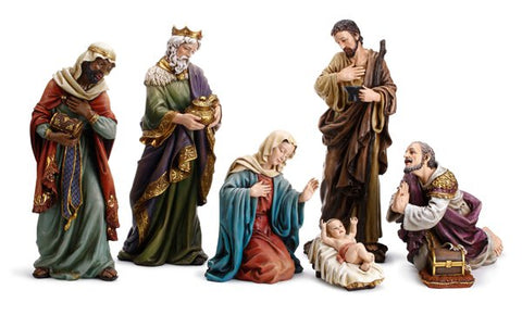 "24"" Three Wise Men and The Holy Family Figurine - 7-Piece Hand Painted Nativity Set"