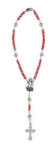 Divine Mercy Red AB Crystal Auto Rosary, 3pcs