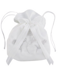First Communion White Satin Floral Drawstring Purse