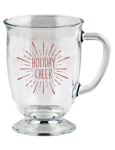 16oz Holiday Cheer Large Glass Mug