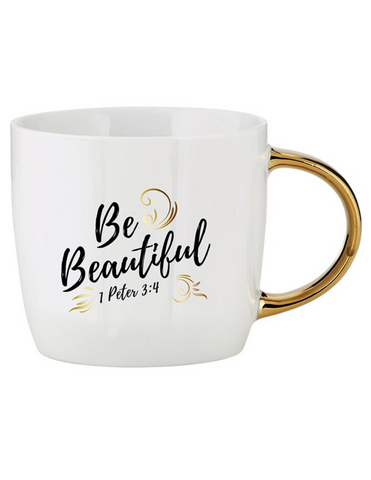14oz Ceramic Be Beautiful Gold Handle Mug